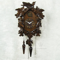 Фоточувствительный Интеллектуальный время/Массив дерева ручной резьбой/Mute часы с кукушкой/гравировка листья птицы