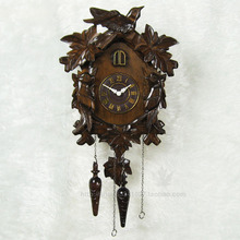 Photosensitive intelligent time solid wood hand carved mute cuckoo clocks engraving leaves the birds