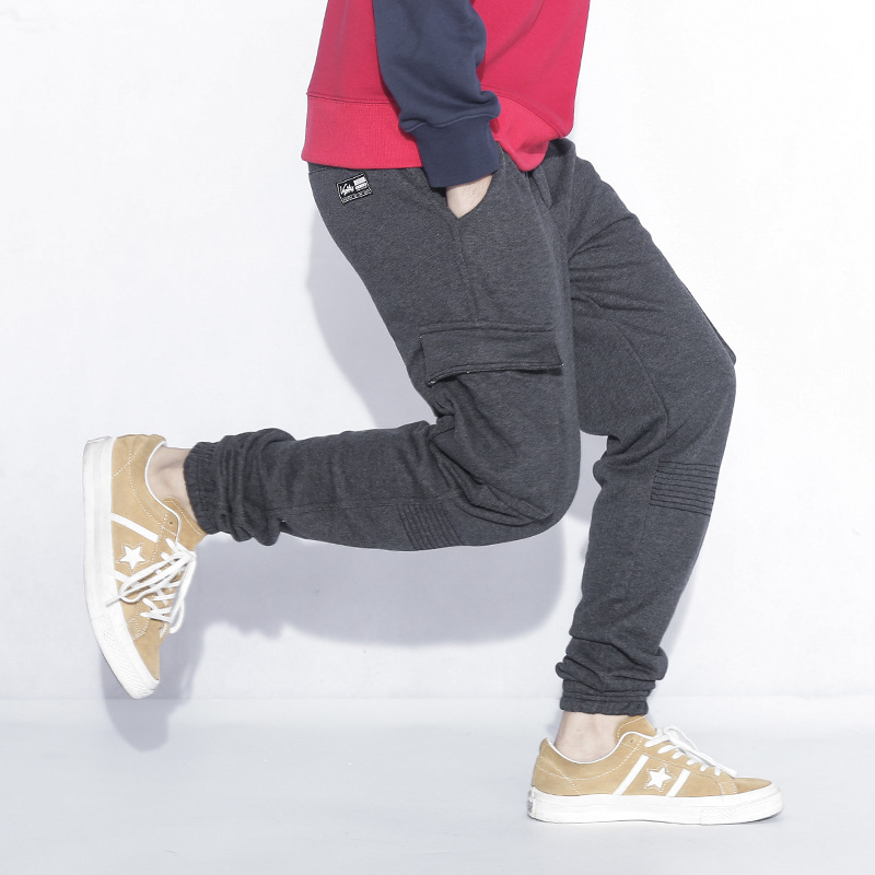 Pantalon de survêtement Hommes 2018 Automne de Sport Poche Coton pantalons de Survêtement La Peur De Dieu Solide Gris Hip Hop Lâche Pantalon Crayon Pantalon
