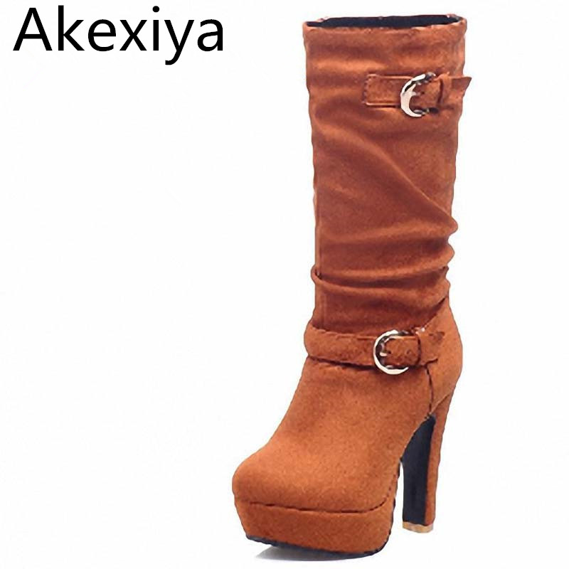 Akexiya Four Colors Big Size 34-41 Flock Mid-Calf High Boots Winter Square Heels Flock Platform Boots Warm Snow Boots Wedding new fashion winter boots wool flock shoes women boots platform thick high heels mid calf boots two swear big size 34 43 0715