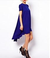 Customize Womens O Neck Hi Low Asymmetrical Solid red blue double layer chiffon dress plus size XS 8XL long casual dresses