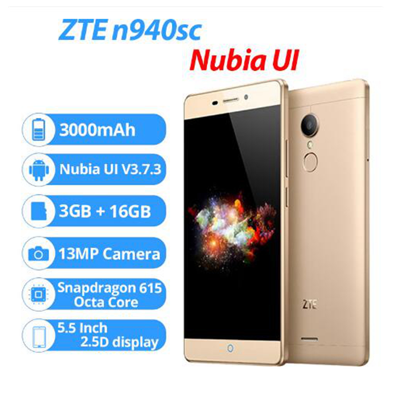 ZTE V5 Pro ZTE N940sc 5.5 Inches Octa Core Android 5.1 Mobile Phone 3GB RAM 16GB ROM 4G FDD LTE 13.0MP FHD 1080P Fingerprint