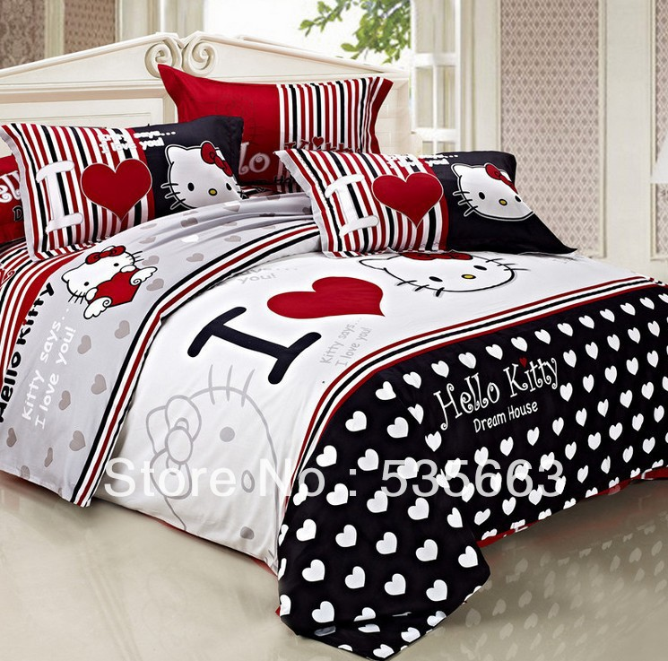 free shipping pure cotton kids cartoon sheets set cute cat print sheets set full queen size. Black Bedroom Furniture Sets. Home Design Ideas