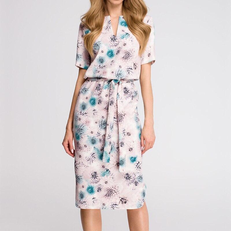 Midi Party Dresses Geometric Print Loose Batwing Sleeve Dress 69