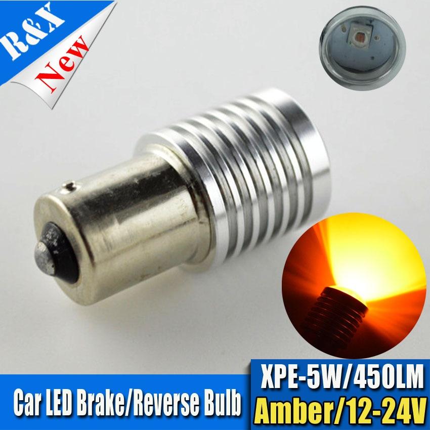 2X High Power S25 1156 BA15S BAU15S PY21W Option 5W 450LM P21W LED Bulb Amber Turn Signals Brake Backup Reverse Lights Fog Lamps