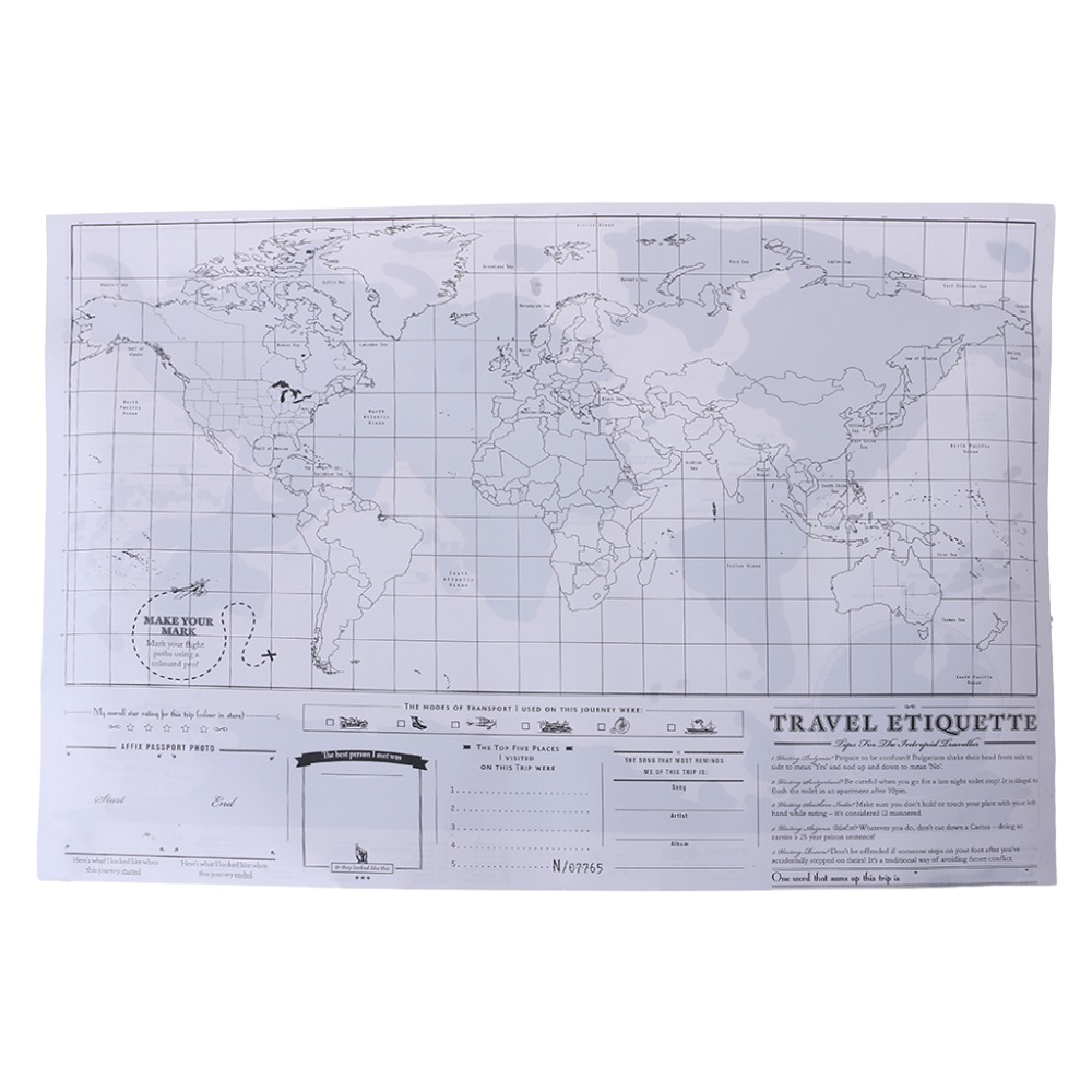 Deluxe Personalized Scratch Off Journal World Map And Travel Atlas Poster 8