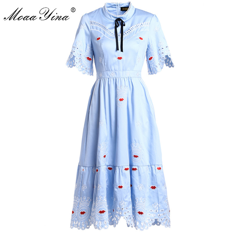 MoaaYina Fashion Designer Runway Dress Summer Women Stand collar Short sleeve Lace Hollow Out Lipstick Embroidery