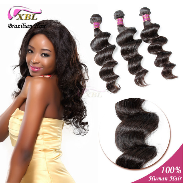 Brazilian Virgin Hair Loose Wave Bundles Natural Black Unprocessed