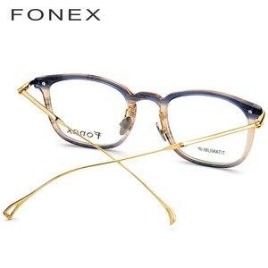 Image 4 - Fonex Titanium Acetaat Optische Brilmontuur Mannen Bijziendheid Recept Brillen Vrouwen Ultralight Transparante Eyewear 9131