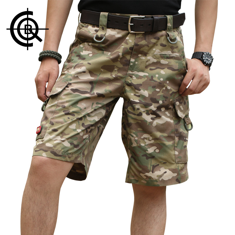 ФОТО CQB Tactical Camouflage Outdoor Summer Men Hiking Shorts Men Trousers Camping Hishing Shorts Loose Multi Pocket Overalls KZ0073
