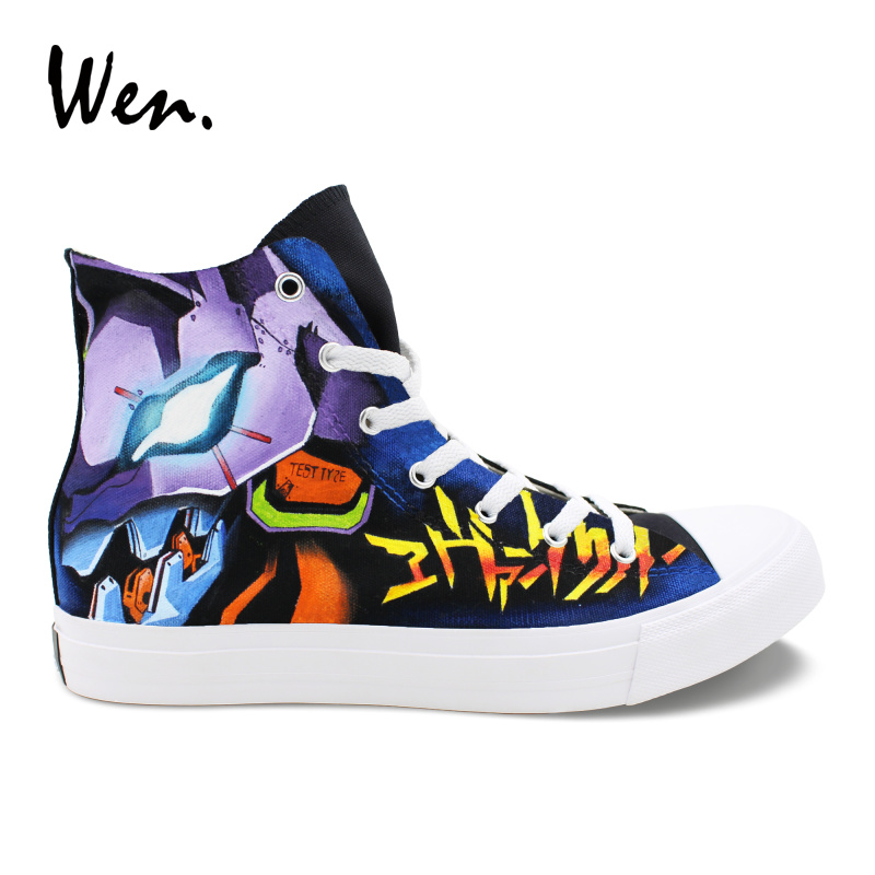 Wen Anime Design peint à la main chaussures personnalisées néon Genesis Evangelion haut toile baskets unisexe décontracté Portable Plimsolls