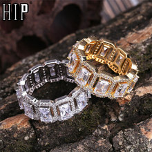 Hip Hop Popular Tready Bling Iced Out Copper Zircon Ring For Men Women Jewelry Gold Silver