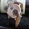 2015 New Fashion Casual Hot Sale Design Two Dual Dial Leather Men Women Quartz Dress Wrist Watch Gift