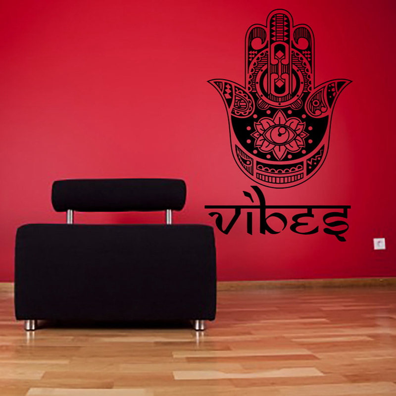 Hand Buddha Quotes Namaste Wall Decals Yoga Mandala Wall Stickers Living Rooms DIY Home Decor Yoga Lotus Decoration diy photo frame tree home decals wall stickers