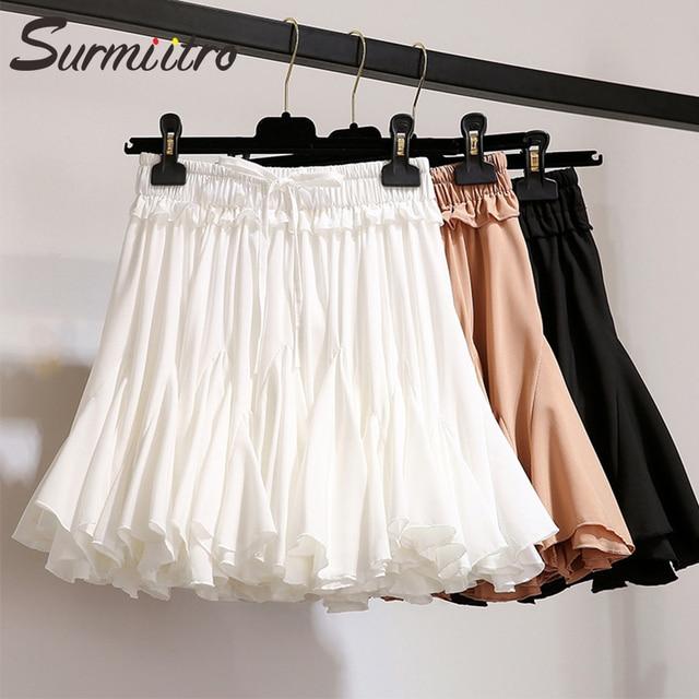Surmiitro Branco Preto Chiffon Verão Saia Mulheres 2019 Moda Coreano Escola Saia Tutu de Cintura Alta Plissadas Mini óculos de Sol Feminino