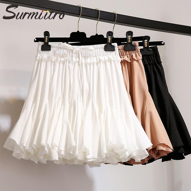 Surmiitro White Black Chiffon Summer Shorts Skirt Women 2020 Fashion Korean High Waist Tutu Pleated Mini Sun School Skirt Female