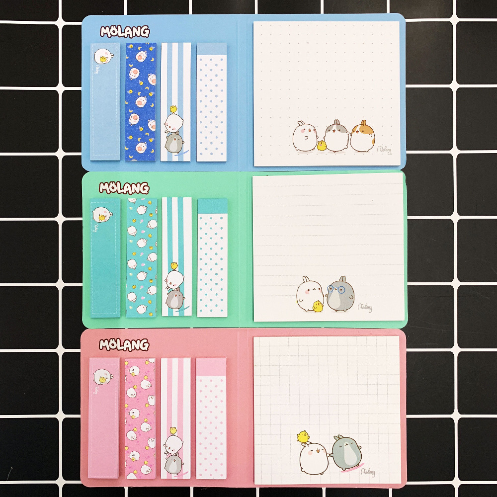125 Pages /Pack Cute Molang Memo Pad Sticky Notes Paper Writing School Office Supply Notepad Stationery