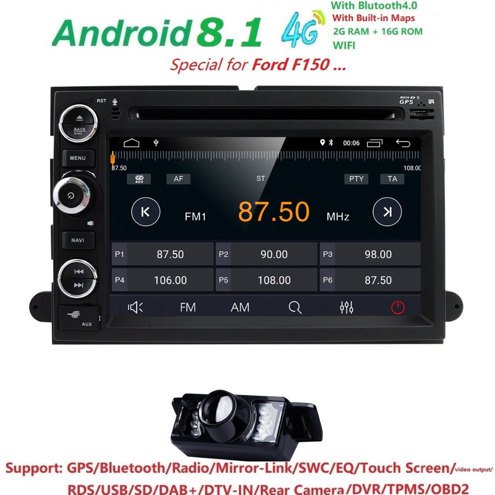 AutoRadio 2 din Android 8.1 Car DVD Player for Ford F150 F250 Fusion Mustang Edge Explorer Expedition 2004 2005 2006 2007 2008