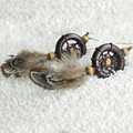Original Estilo Indiano Do Vintage Círculo De Madeira Pena Dream Catcher Dangle Brincos Moda Brincos Longa Queda Para As Mulheres de Jóias