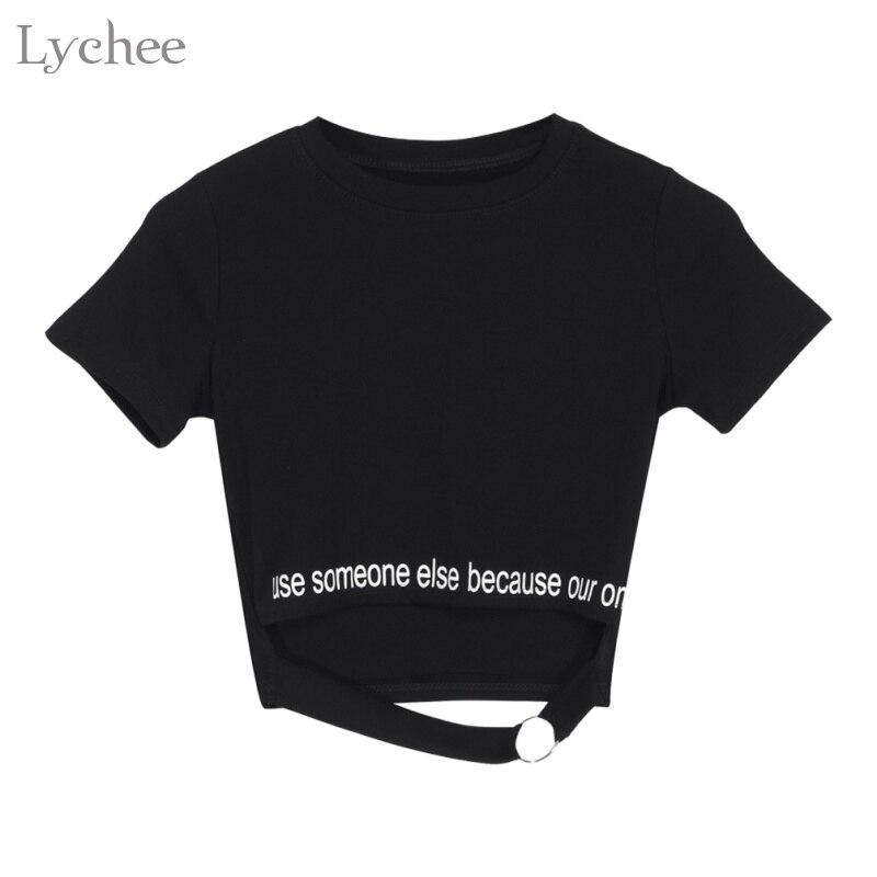 Женский летний укороченный топ Lychee в стиле панк, футболка с коротким рукавом и буквенным принтом, футболка с вырезами и кольцами, уличный Топ