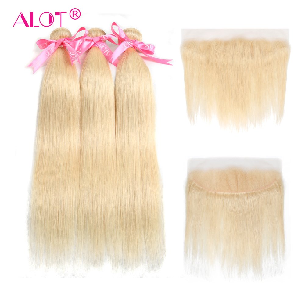 ALOT Hair Brazilian Straight 613 Blonde Human Hair Bundles With 13 4 Frontal Closure 4 PCS