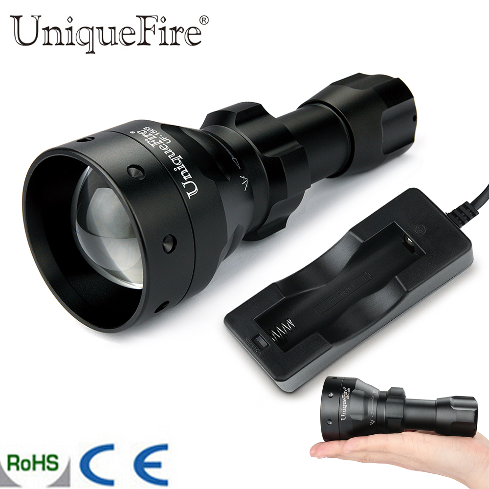 UniqueFire 1503 Upgraded T50 Zoomable LED Flashlight Torch IR 940nm 50mm Lens 3 Modes Power By 3W Waterproof Lamp Light +Charger uniquefire t20 upgraded zoomable led flashlight ir 940nm 3 mode lamp light torch with scope mount waterproof for hunting camping