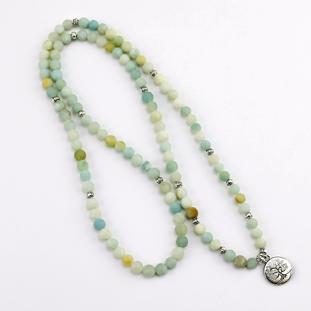 6mm Frosted Amazonite Mala 5
