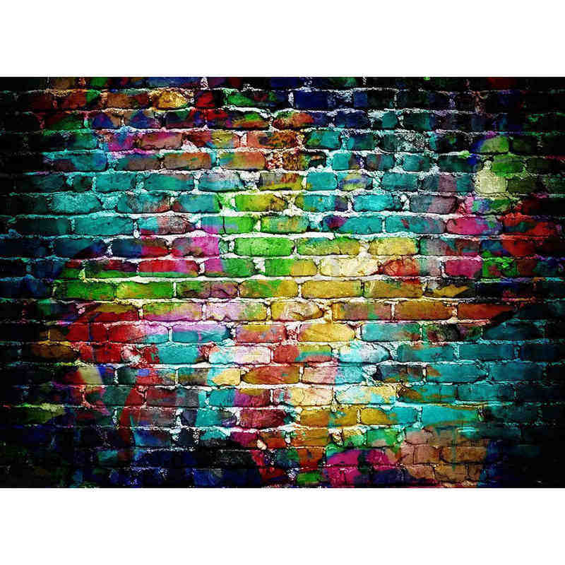 Onsale 1pc 7x5FT Brick Wall Photography Background Colorful Graffiti Photo Backdrops Studio Props Waterproof Vinyl Mayitr brick wall baby background photo studio props vinyl 5x7ft or 3x5ft children window photography backdrops jiegq154
