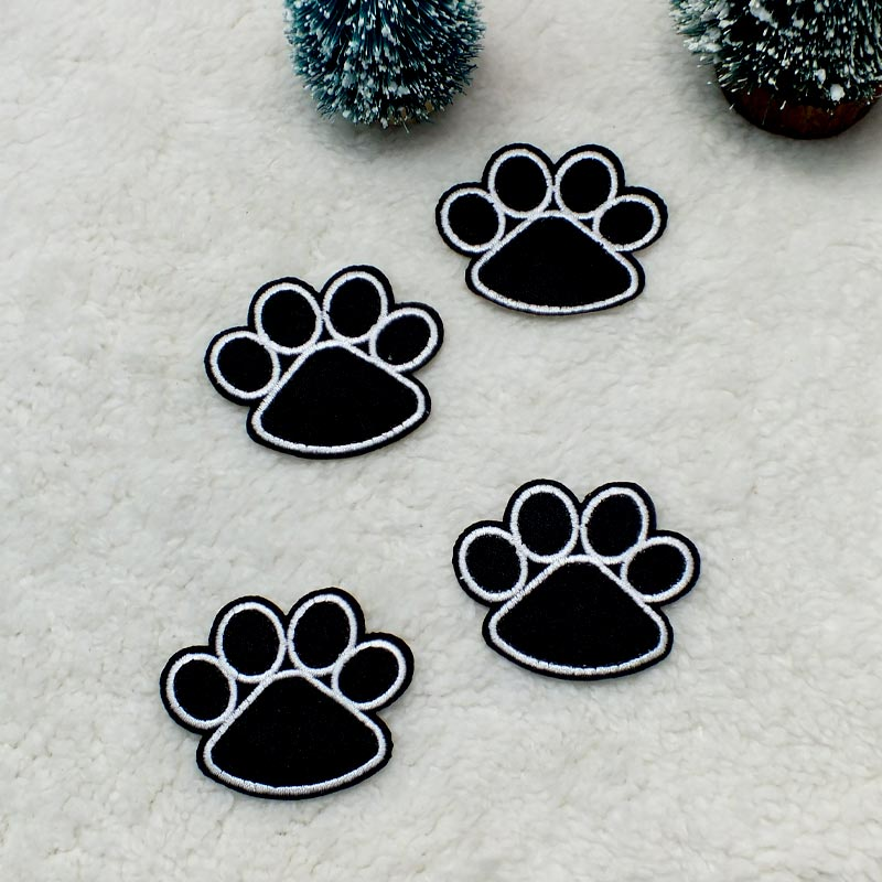 DoreenBeads 1PC Cute Black Footprint Dog Paw <font><b>Patch</b></font> <font><b>Iron</b></font> <font><b>On</b></font> Embroidered <font><b>Patches</b></font> Stickers for <font><b>Kid</b></font> T Shirt Coat Hat Shoes 4.2x5.1cm image