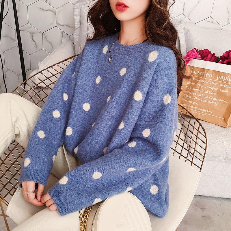 Warm Yellow Pink Polka Dot Loose Sweater Women Pullovers Korean Fashion Fall Winter Sweet Ladies Knit Sweaters Jumper Pull Femme