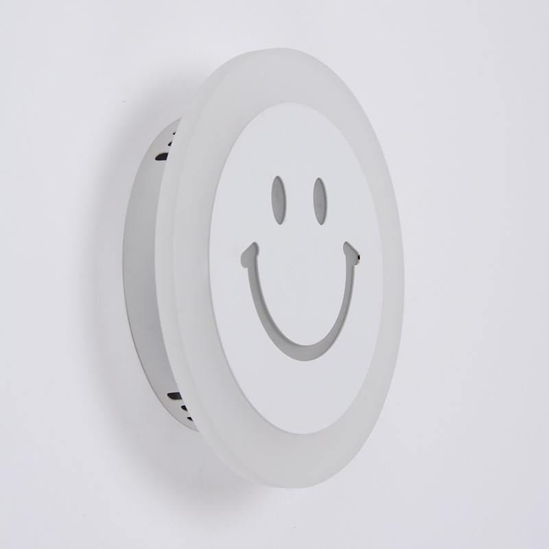 Creative LED Smile Face Wandlamp Simple Kids Cartoon Bed Room Light - Binnenverlichting - Foto 5