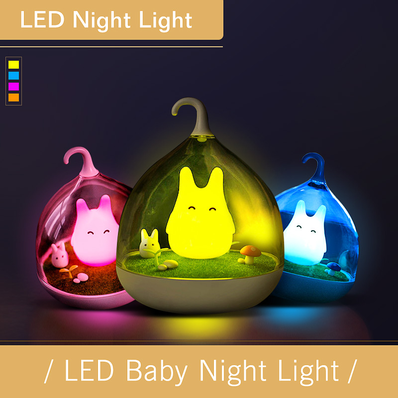 Newest Design Night Lamp Totoro Cute Portable Touch Sensor USB LED Lights For Baby Bedroom Sleep Lighting Light Free Shipping free shipping newest design night lamp totoro cute portable touch sensor usb led lights for baby bedroom sleep lighting light
