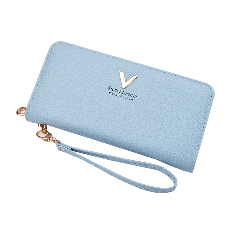 Women Purse Leather Wallet Female Coin Purse Long Wristlet Candy Color Handy Bag Clamp For Money Fashion Letter Ladies Wallet brand passport women wallets case travel leather wallet female key coin purse wallet women card holder wristlet money bag small