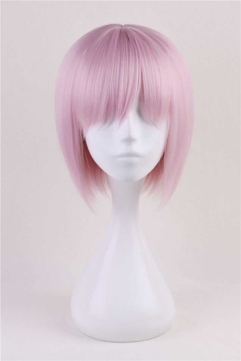 Fate/Grand Order Mash Kyrielight Cosplay Costume Accessory Short Light Pink Bangs Bob Wo ...