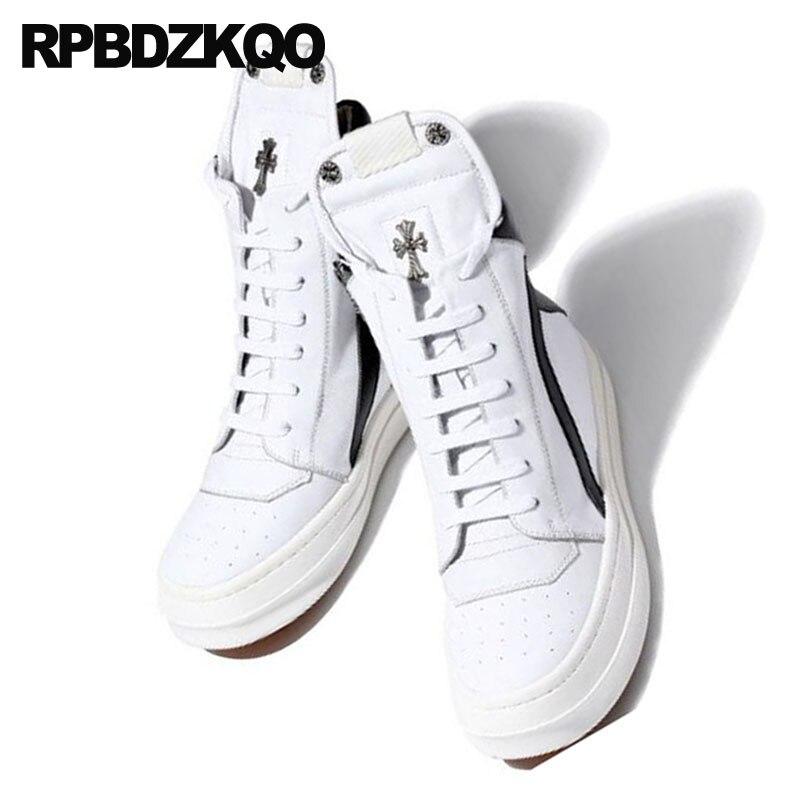 blanc Pointe Noir Sneakers Skate White Blanc 2 1 Qualité En Cuir Hommes Chaussures black Marque Lacent black Haute Véritable Luxe Métal De Noir Marche Formateurs Et Piste Haut XqpT6B