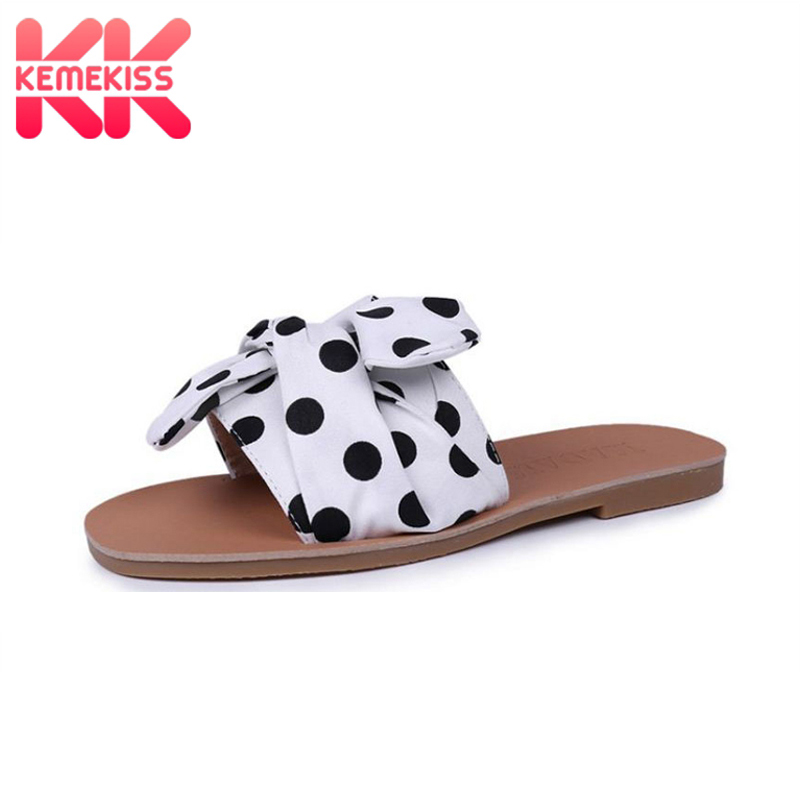 KemeKiss Women Slippers Open Toe Bow-Not Polka Dot Women Summer Shoes Classic Fashion Sandals Holidays Footwear Size 35-39 kemekiss women slippers clip toe flat heel crystal shine women summer shoes fashion korean holidays footwear size 36 40