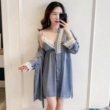 64ce5fdcdee Для женщин кружева пижамы набор шелковый халат и платье комплект  сексуальный халат должен платье пижамы мини