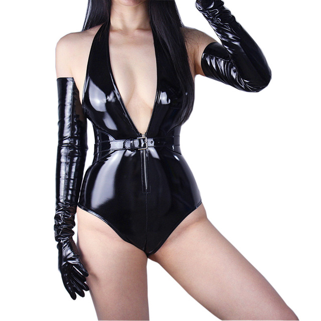 2020 New Patent Leather Extra Long Gloves 70cm Long Emulation Leather PU Bright Leather Bright Black Female Free Shipping WPU04 5