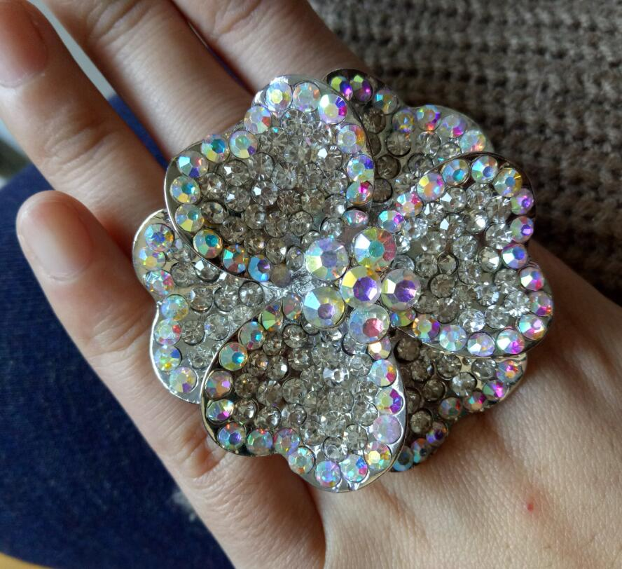 Finger-Ring Jewelry Crystal Flower Oversized Heart-Shaped Exaggerated Elastic Fashion