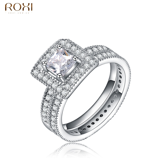 ROXI Brand Ring For Women New Year Gift White Gold Color Square Crystal Ring Wedding Rings Luxury For Women Fashion Jewelry