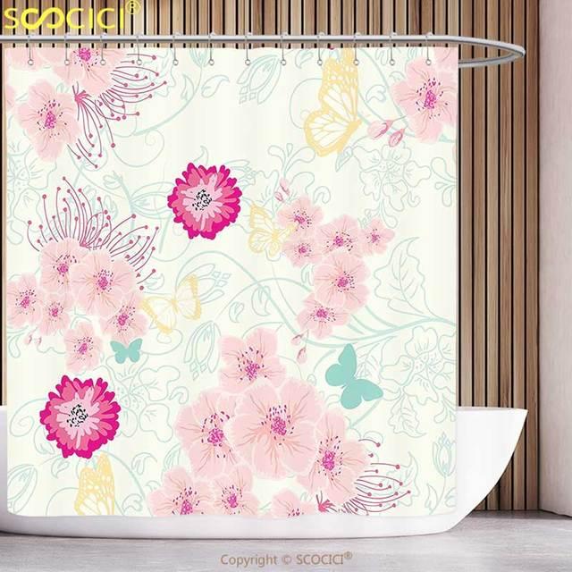 Stilvolle Duschvorhang Floral Frühlingsblume Essenz Schönheit Duft  Schmetterlinge Bild Magenta Licht Rosa Türkis Gelb