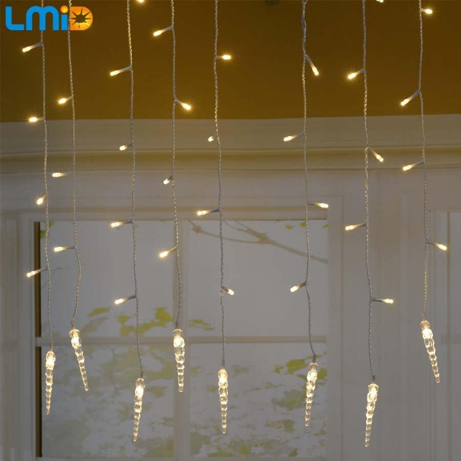 Holiday Lighting 4x0.6M Icicle Colorful Fairy Xmas LED Curtain String luminarias Garland Decoration Christmas LED Light