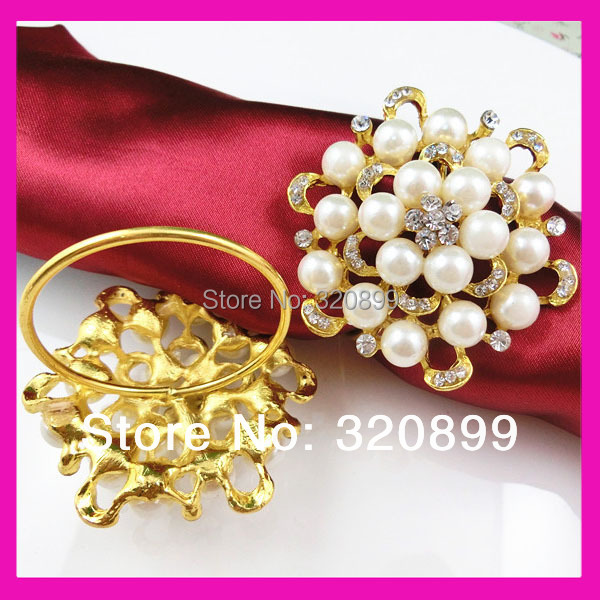Wholesale ! 200pcs lot gorgeous gold round pearl and rhinestone napkin rings  for restaurant table decoration. Price  US  240.00   lot. 200 pieces ... 735a33017418