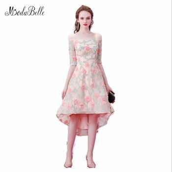 modabelle High Low Flower Prom Dress Vestidos De Graduacion Boat Neck Half Sleeve Short Front Long Back Ballkleider Lang