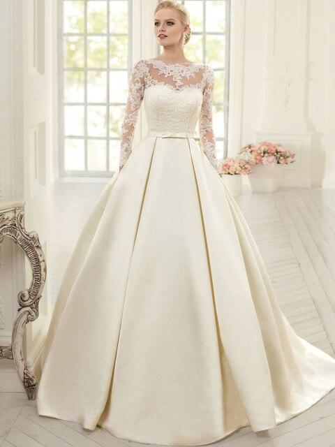 elegante manga larga vestidos de novia con encaje de cuello alto