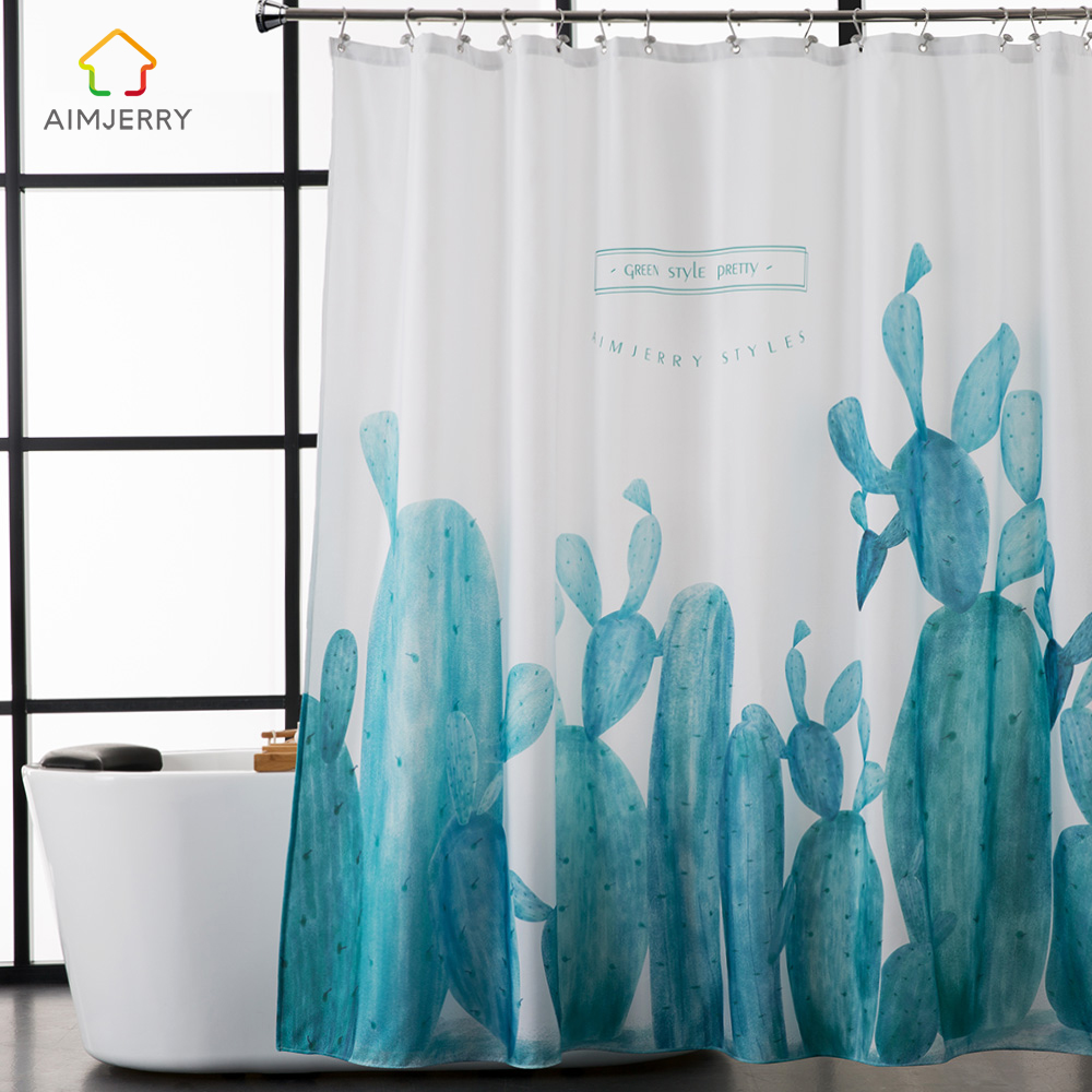 Aimjerry green shower curtain fabric modern bathtub for Green modern curtains