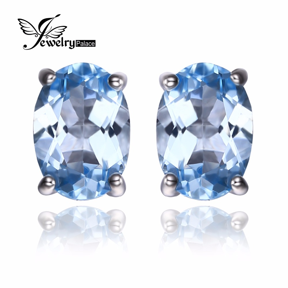 Jewelrypalace Pure Solid 925 Sterling Silver Oval 19ct Natural Sky Blue  Topaz Birthstone Stud Earrings