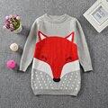 2016 Nuevo Suéter de la Muchacha Vestido Estampado de Chica Zorro Casual Pullover Manga Larga de Cuello Redondo Suéter Tejido de Punto Ropa de Los Niños