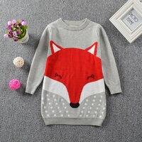 Spot 16 Spring INS Explosion Cotton Sweater Dress Cute Girls Dress Kids Knitted Skirt Fox