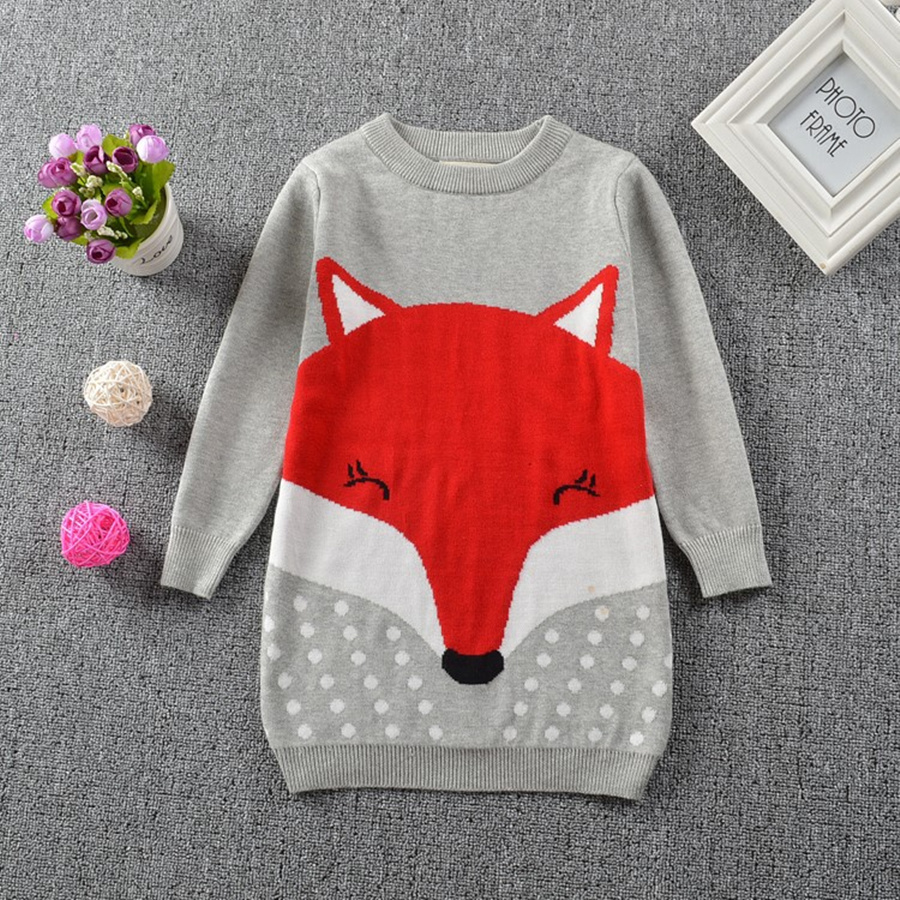2019 New Girl Sweater Dress Printed Fox Girl Casual Pullover Lange mouw Crew Neck Knitwear Sweater Kinderkleding